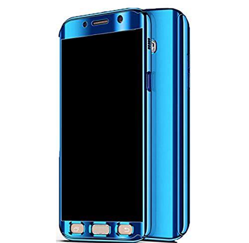 Qissy Hülle für Galaxy S7 /Galaxy S7 Edge, Ultra Thin 3 in 1 Handytasche Hart Spiegel Schutzhülle für Galaxy S7 /Galaxy S7 Edge Cover (Blau, Samsung Galaxy S7 Edge)