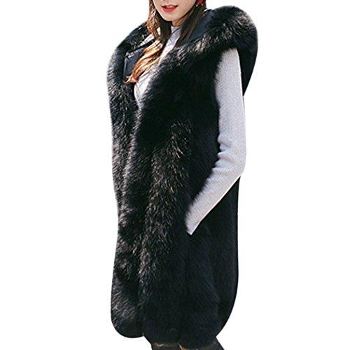mioim Damen Faux Pelz Weste Ärmellose Lange Jacke Vest Kunstpelz mit Kapuzen Winter Herbst Pelzmantel Fellweste Mäntel Schwarz L