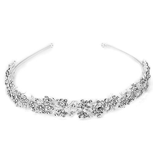 Skyllc® Diadema bañado de plata circonita Brillo Corona Novia 140 x 20 mm