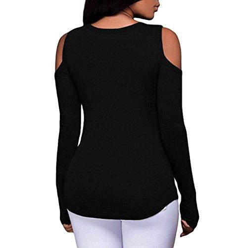Tefamore Femmes Lâche Chemise à Manches Longues à Rayures Tops en Mousseline de Soie Blouse Décontractée Noir