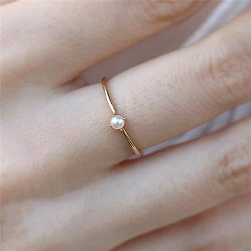 PULT EinfachePerlenringefür Frauen Gold DünneFingerringeWeibliche Verlobungsringe PerlenEheringe, Verlobungsringe, 6.0243