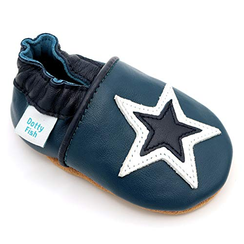 Dotty Fish weiche Leder Babyschuhe mit rutschfesten Wildledersohlen. 12-18 Monate (21 EU). Navy Schuh mit Marine und weißem Stern Design. Jungen und Mädchen. Kleinkind Schuhe.