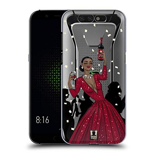 hwarze Frau In Einem Roten Kleid Wein Fest Harte Rueckseiten Huelle kompatibel mit Xiaomi Black Shark ()