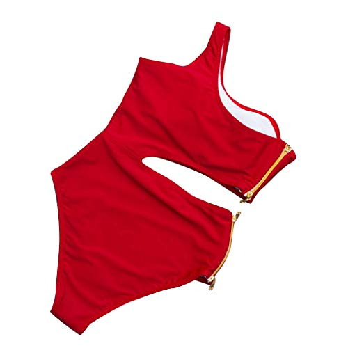 Damen Badeanzug - Omingkog, Frau Bademode Einfarbiges Swimsuit Neckholder V-Ausschnitt Sexy Bikini ärmelloses Schwimmanzug Strandkleidung Blume Tankini Strandmode Kleid(Rot6,M) -