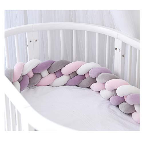 Bettumrandung,Baby Nestchen Kinderbett Stoßstange Weben Bettumrandung Kantenschutz Kopfschutz für Babybett Bettausstattung 220cm (Rosa + grau + weiß + lila)