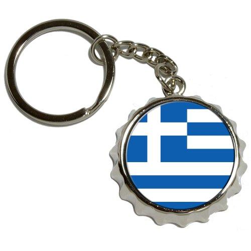 Preisvergleich Produktbild Griechische Flagge–vernickeltes Metall PopCap Flaschenöffner Schlüsselanhänger Ring