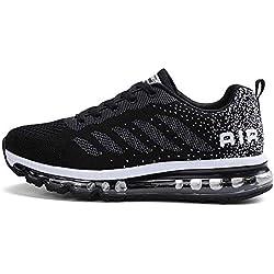 Zapatillas de Deportes Hombre Mujer Zapatos Deportivos Aire Libre para Correr Calzado Sneakers Gimnasio Casual(833-BK39)