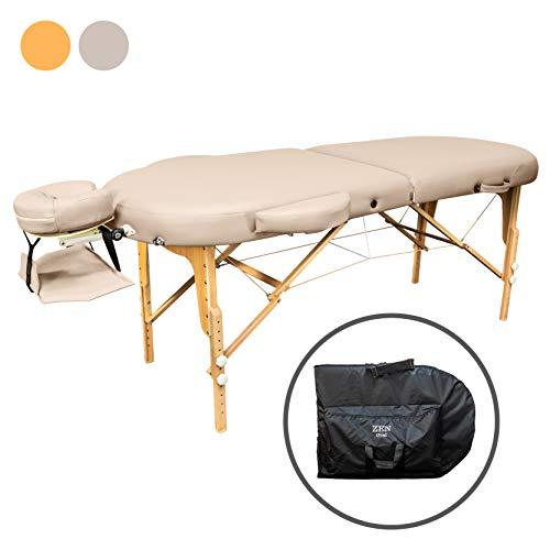 Zen Oval   Massage-Liege klappbar und höhenverstellbar   mobiler Kosmetik-Tisch in ovaler Form für aktive Massagestile   Voll-Holz, hochwertiger PU-Bezug, Alu-Kopfstütze   TÜV zertifiziert (Créme) -