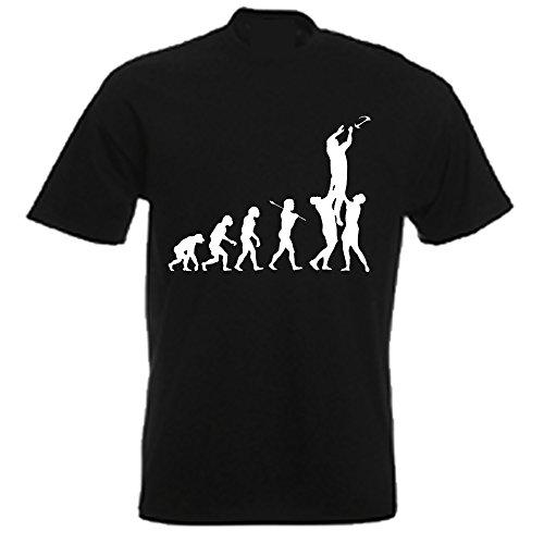 Rugby Funny Evolution T Shirt Gr. Medium, Schwarz - Schwarz