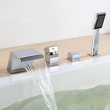 Badewannenarmaturen - Moderne Chrom Wandmontage Keramisches Ventil/Zwei Griffe Vier Löcher