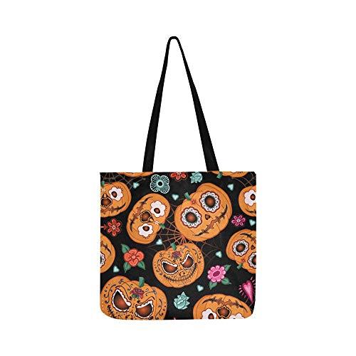 er Halloween Pumpkinflowers Spiderweb Leinwand Tote Handtasche Schultertasche Crossbody Taschen Geldbörsen für Männer Und Frauen Einkaufstasche ()