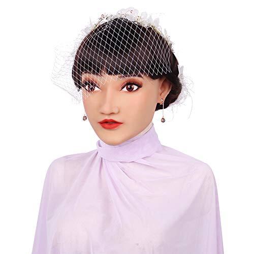 ZRB Perfekt Weiblich Gesicht Handgemacht Silikon Realistisch Kopf Maske Komplett Geschlossen Kopfbedeckung Crossdresser Transvestit Cosplay Halloween Kostüme Parodie Geschenk (Roboter Weibliche Kostüm)