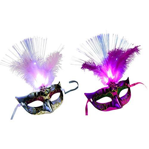 Migavan 2 stücke Frauen Venezianischen Venedig Glühende Feder LED Masken Karneval Halloween Maskerade Cosplay Kostüm Party Supplies Silber + Rosa