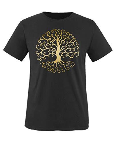 Comedy Shirts - Halloween Baum - Jungen T-Shirt - Schwarz/Gold Gr. 152-164
