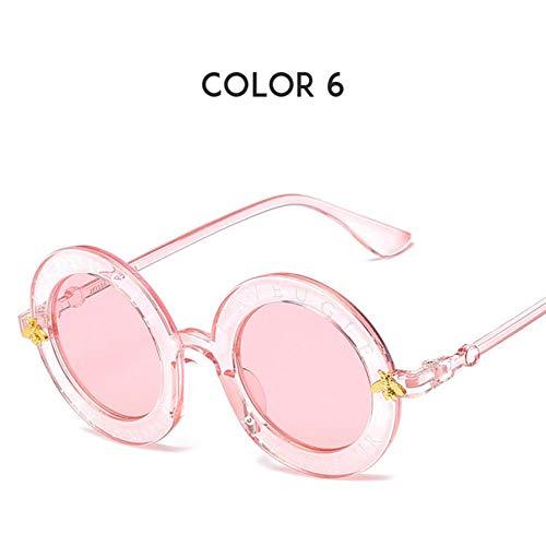 Loving Bird Liebevolle Vogel Buchstaben Runde Sonnenbrille Frauen 2019 Luxusmarke Designer Männer Sonnenbrille Retro Schwarz Rahmen Biene Brillen für Weibliche Oculos UV400, Farbe 6