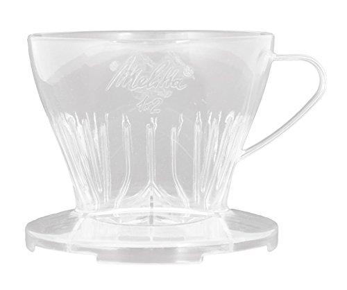 Melitta Kaffeehalter mit Kaffeemesslöffel, Kaffeefilter 1x2 Premium, Kunststoff, Transparent, 217588 - 1 Tasse Kaffee-filter