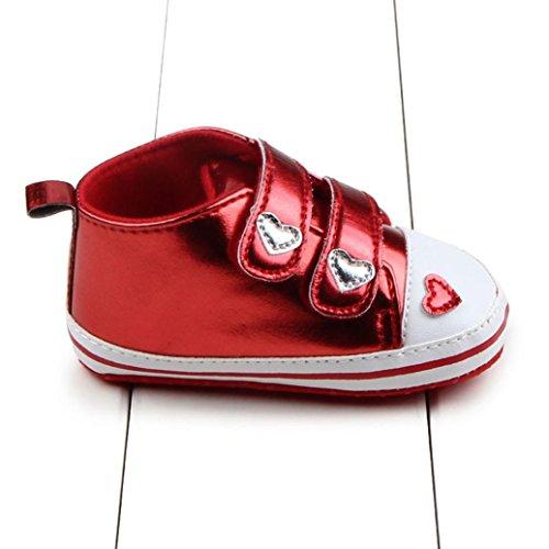 Babyschuhe Longra Baby Mädchen weiche alleinige Krippe schuhe Turnschuh Sneaker Kleinkind lauflernschuhe krabbelschuhe (0~ 18 Monate) Red