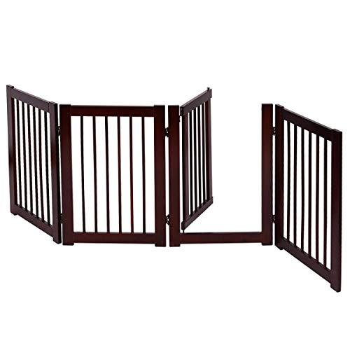 COSTWAY Barrera de Puerta de Seguridad Bebé Niño Rejilla para Perros Mascotas Puerta Escalera Protección Plegable de Madera (203 x 76 x 1,8cm)