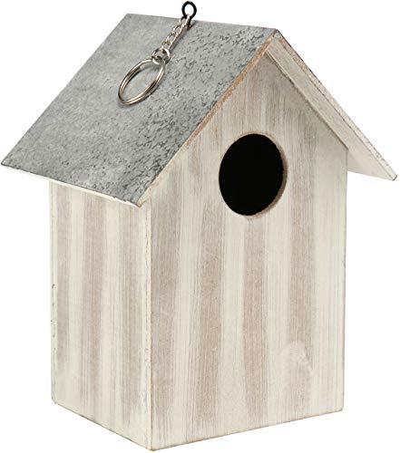 com-four® Vogelhaus aus Holz - Nistkasten für Kleinvögel - Dekoratives Futterhaus zum Aufhängen - Schutz für kleine Wildvögel (01 Stück - 17x13 x11.7cm weiß)