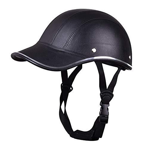 SDGDFXCHN Motorrad PU Leder Helm Mütze Cap Motocross halb offenes Gesicht Visier Protector Guard - Leder-motorrad-mütze