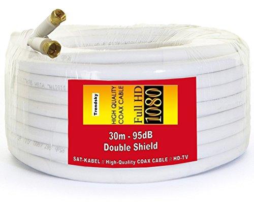 Foto de 30metros de cable de antena coaxial SAT Cable Satélite Cable de acero, cobre, para Full HD TV, 3d, DVB-S/S2DVB-C y DVB-T BK Instalaciones, Digital Televisión, Class de a