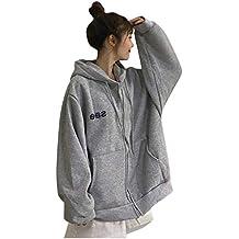 Floweworld - Abrigo de mujer con capucha, moda de invierno, manga larga, monocromo, estampado informal, sudadera