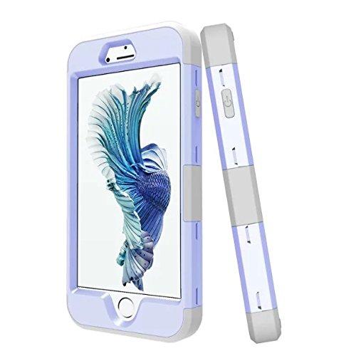 iPhone 7 Coque, Lantier 3 en 1 [Hard Soft Case robuste] [Anti-Scratch] [Shock Absorption] Housse de protection légère Mince Body Armor pour Apple iPhone 7 (4,7 pouces) Dark Purple + Noir Light Purple+Grey