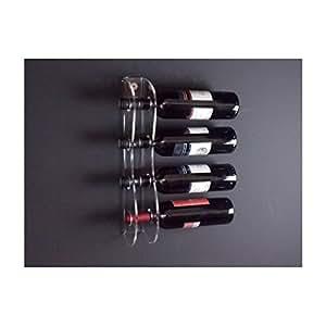 Portabottiglie in plexiglass trasparente per 4 bottiglie - Misure: 12x6x H44