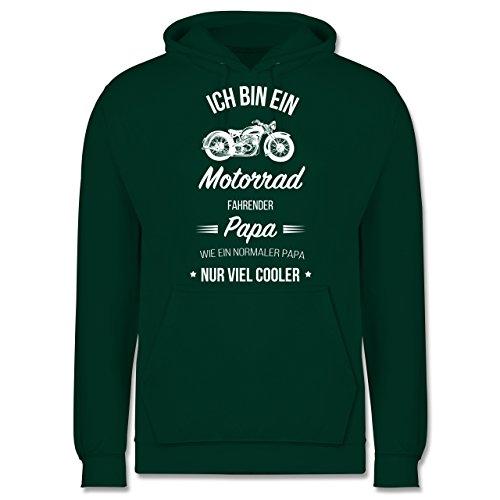 Vatertag - Ich Bin Ein Motorrad Fahrender Papa - S - Dunkelgrün - JH001 - Herren Hoodie (Hoodie Pullover Vatertag)