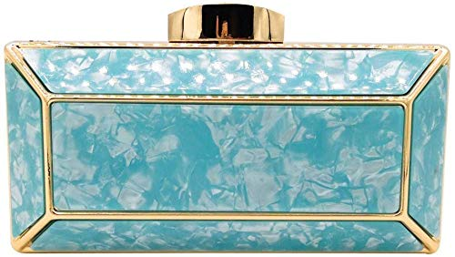 Tasche Hochwertige Clutch Handtaschen Damenhygieneprodukte Kosmetik Kleine Necessities Abnehmbare Kette Beherbergungs formale Angelegenheiten Acryl, Größe: 18x55x9cm (Color : Blue)