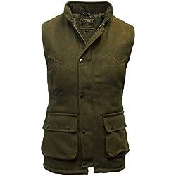 Walker and Hawkes - Chaleco de hombre, estilo Country, de tweed,adecuado para la caza, color verde salvia,tamaños 2XS hasta 4XL Dunkles Salbeigrün L
