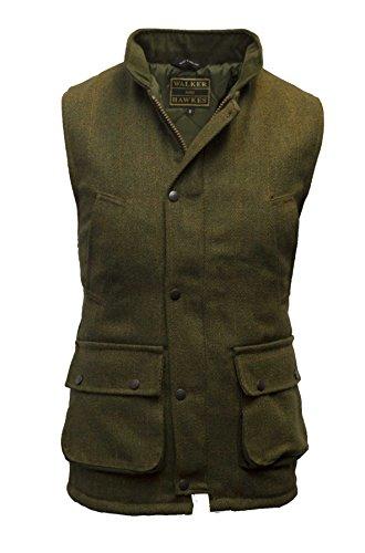 Walker and Hawkes Herren Country-Weste aus Tweed - für die Jagd geeignet - Dunkles Salbeigrün - Größen 2XS bis 4XL (Country Outfits Für Männer)