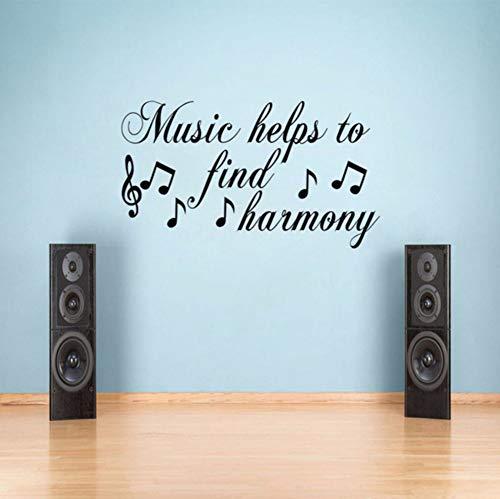 Lvabc Musik Hilft Zu Finden Harmonie Wandtattoos Zitate Vinyl Selbstklebende Aufkleber Wohnzimmer Wanddekoration Aufkleber 44X77Cm (Harmonie Marke)