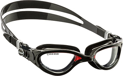 Cressi FLASH, Adult Swim Goggles - made in Italy - DE202391, Negro/Rojo