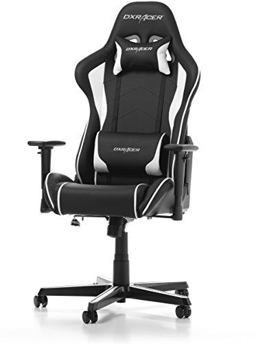 DXRacer (das Original) Formula F08 Gaming Chair für High End PC/PS4/XBOX/Nintendo, ergonomischer Schreibtischstuhl fürs Büro aus Kunstleder, Schwarz-Weiß
