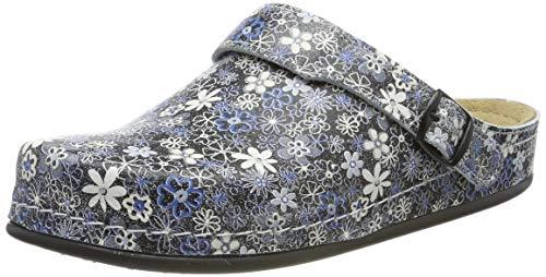 Blaue Blume-clogs (AWC Damen Berufsschuhe Tiefbett (38 EU, Blumen Schwarz/Weiß/Blau))