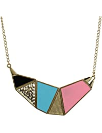 Fayon Funky Fashion Multicolor Geometric Charm Necklace For Women & Girls