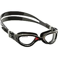 Cressi Flash - Occhialini Nuoto a Oculari Separati con Lenti Infrangibili Antiappannamento / Antigraffio / Anti UVNero/Rosso/Lenti Chiare