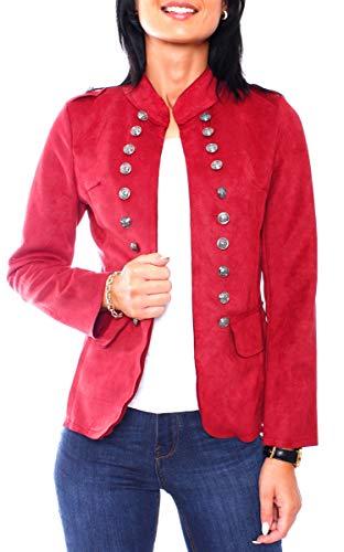 Easy Young Fashion Damen Velours Jersey Blazer Jacke Militaryblazer Tailliert Uni Rot L 40 (XL)