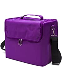 Purple : Topwigy Professional Makeup Bags Oxford Cloth Portable Artists Cosmetic Case Shoulder-style Cosmetic...