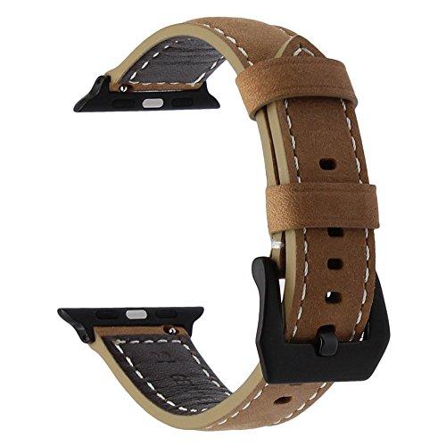 TRUMiRR Italian Genuine Leather Watch Band Correa de muñeca de liberación rápida para iWatch Apple Watch 42mm Series 1 y 2, ajuste muñecas de 6.5 '' a 8.7 ''