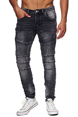 MEGASTYL Biker-Jeans Herren Hose Jogg-Denim Slim-Fit Stone-Washed Grau