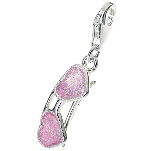 925Sterling Silber Liebe Herz Fancy Fashion Sonnenbrille Rosa Emaille Glitzer baumeln Verschluss europäischen Hummer Clip auf Charm