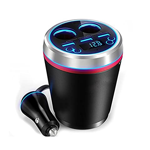 Jinserta 3en 1Bluetooth Cup-shaped chargeur allume-cigare kit mains libres, transmetteur FM Lecteur MP3+ 3ports USB Charger + double prise allume-cigare Splitter
