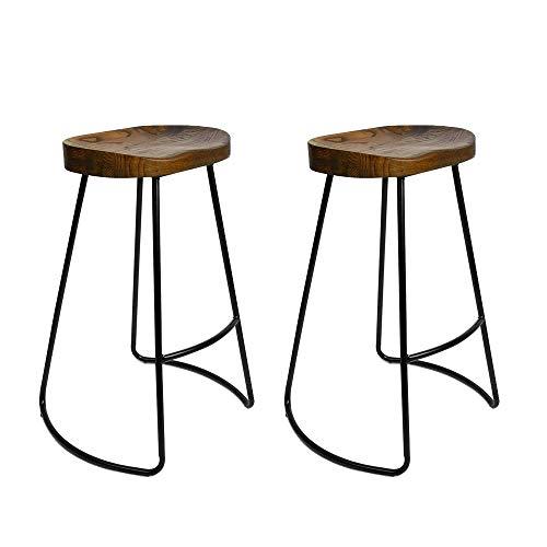 Dark Brown Counter (ASDUN Barhocker Pub Hocker Massivholz Metallskelett Modern Simple Freizeit Style SitzhöHe 75cm Counter Office Bistro 2 Stück)