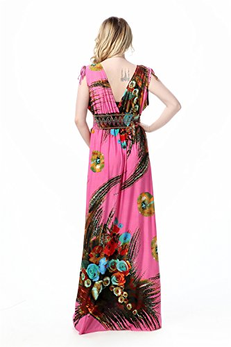 JOTHIN Damen Ärmellose Bedruckte Strandkleid Maxikleid Boho V-ausschnitt Plus Size Mit Elastischer Taille Rosa