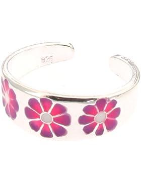 Sterling Silber Emaille rosa und lila Blume Zehenring