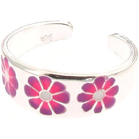 Anello per dita del piede, con design fiore in argento sterling e smalto, colore: rosa/viola