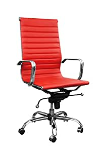 Bürostuhl Schreibtischstuhl Drehstuhl Chefsessel feuerrot Echtleder Alpha Elegance