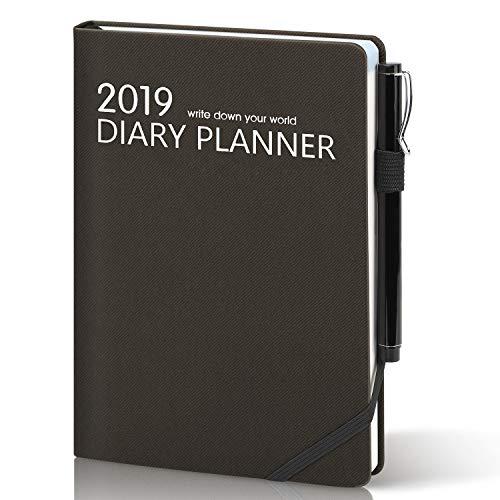 Agenda 2019 2020 giornaliera a5,diario accademico con copertina rigida in pu,chiusura elastica,segnalibro,anello penna flessibile&tasca interna,agenda settimanale&mensile per potenziare produttività